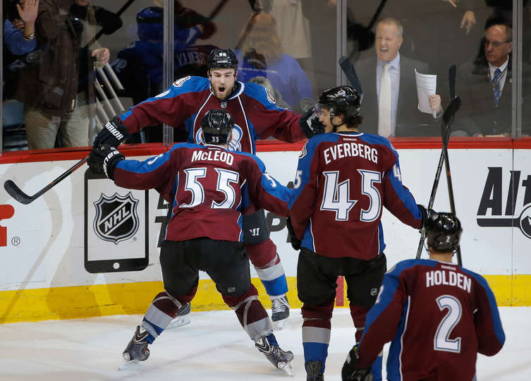 The Avalanche celebrate the game tying goal late in the 3rd period of a 3-2 win
