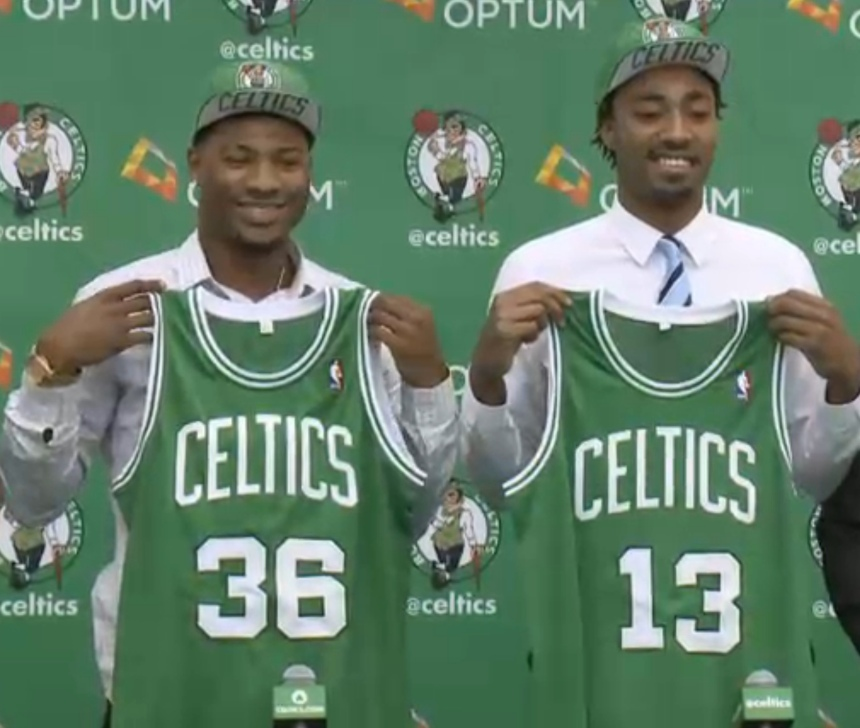 Celtics 2014 first round draft picks Marcus Smart (left) and James Young (right) look to help the C's rebuild